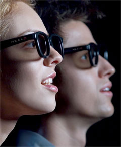 Two People Wearing 3D Glasses