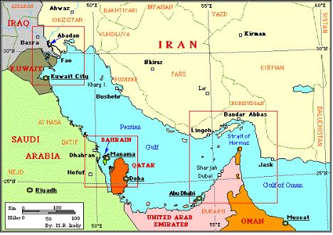 Map of the Straight of Hormuz